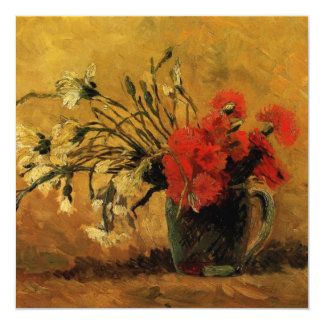 vase with red and white carnations, van Gogh 13 Cm X 13 Cm Square Invitation Card