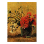 vase with red and white carnations, van Gogh Custom Invitations