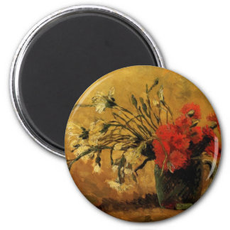 vase with red and white carnations, van Gogh Magnet