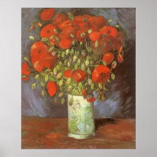 Vase with Red Poppies by Van Gogh, Vintage Flowers Print