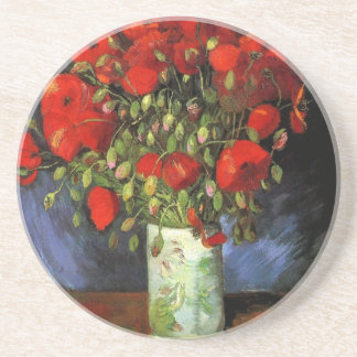 Vase with Red Poppies by Vincent van Gogh Drink Coasters