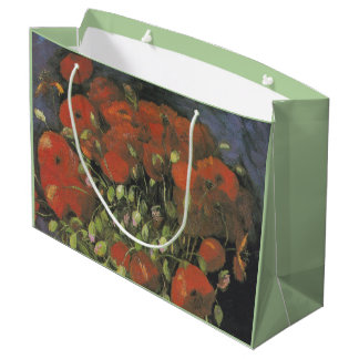 Vase with Red Poppies by Vincent van Gogh Large Gift Bag