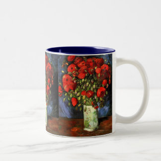 Vase with Red Poppies Van Gogh Fine Art Two-Tone Mug
