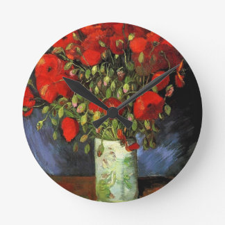 Vase with Red Poppies Vincent van Gogh Round Clocks