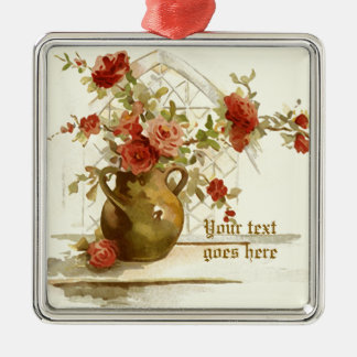 Vase with red roses vintage watercolor ornament