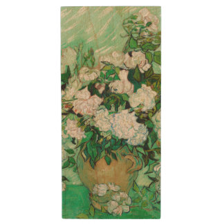 Vase with Roses by Vincent Van Gogh Wood USB 2.0 Flash Drive