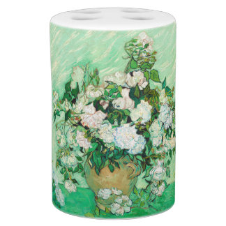 Vase with Roses by Vincent Van Gogh Soap Dispenser And Toothbrush Holder