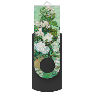 Vase with Roses by Vincent Van Gogh Swivel USB 2.0 Flash Drive