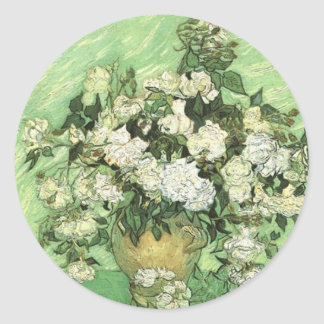Vase with Roses, Vincent van Gogh 1890 Classic Round Sticker
