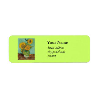 Vase with three sunflowers, Vincent van Gogh Return Address Label
