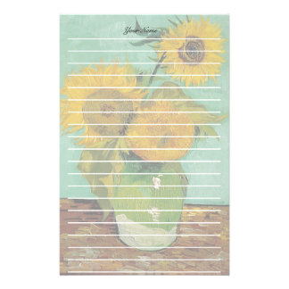 Vase with three sunflowers, Vincent van Gogh Stationery