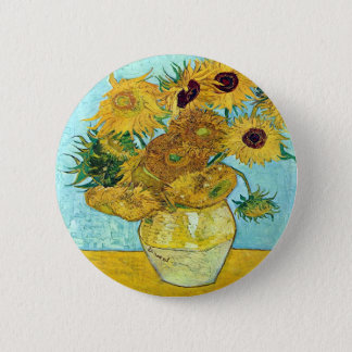 Vase With Twelve Sunflowers By Vincent Van Gogh 6 Cm Round Badge