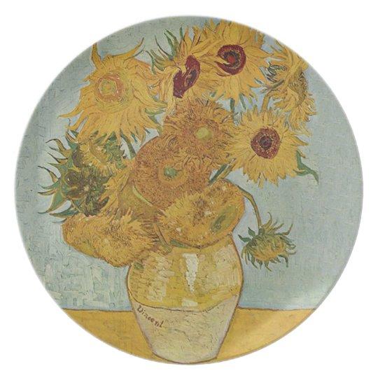 Vase with Twelve Sunflowers by Vincent van Gogh Plate