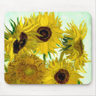 Vase with Twelve Sunflowers, Van Gogh Fine Art Mouse Pad
