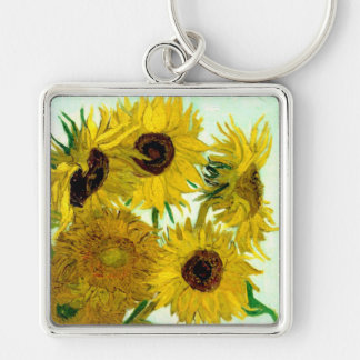 Vase with Twelve Sunflowers, Van Gogh Fine Art Silver-Colored Square Key Ring