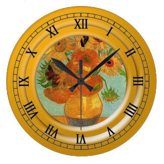 Vase with twelve sunflowers, Vincent van Gogh Large Clock
