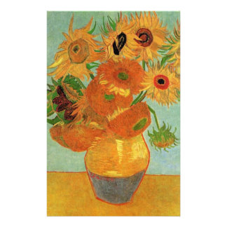 Vase with Twelve Sunflowers, Vincent van Gogh. Personalized Stationery