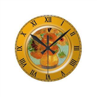 Vase with twelve sunflowers, Vincent van Gogh Round Clock