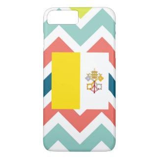 Vatican City Flag Box on Colorful Chevron iPhone 7 Plus Case