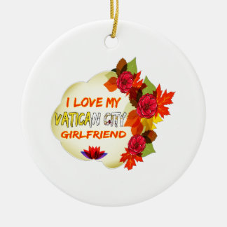Vatican City Girlfriend designs Double-Sided Ceramic Round Christmas Ornament