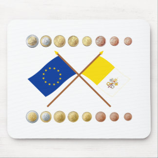 Vatican Euros and EU & Vatican Flags (Series 1) Mouse Pad