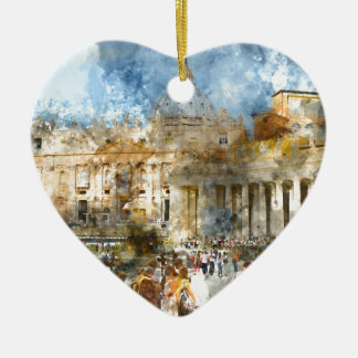 Vatican in  Rome Watercolor Ceramic Heart Decoration