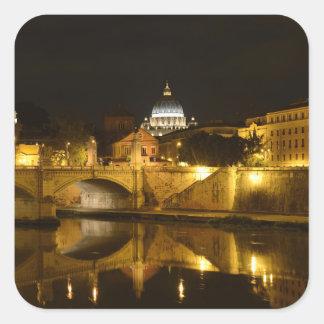 Vatican Rome at Night Square Sticker