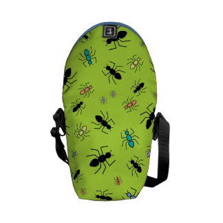 Vector Ant Collage (Grass Green Background) Courier Bags