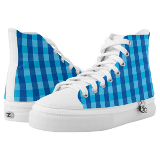 Vector blue check Pattern Printed Shoes