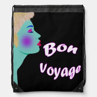 Vector Bon Voyage Drawstring Backpacks