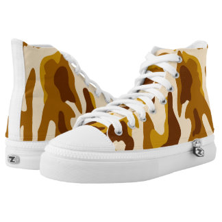 Vector Brown Camouflage Pattern Printed Shoes