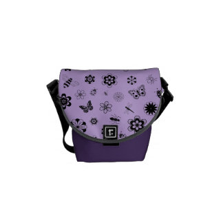 Vector Bugs & Flowers (Lilac Purple Background) Courier Bag