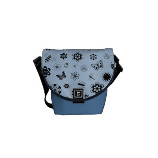 Vector Bugs & Flowers (Sky Blue) Courier Bags