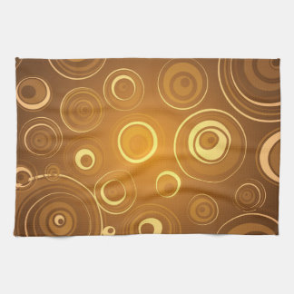 Vector Concentric Circles orange Kitchen Towel