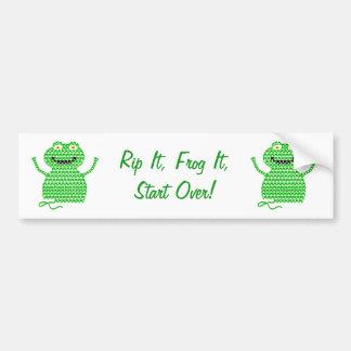 Vector Crochet Frog (Rip it, Frog it!) Bumper Sticker