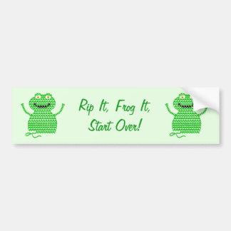 Vector Crochet Frog (Rip it, Frog it! -Green Back) Bumper Sticker