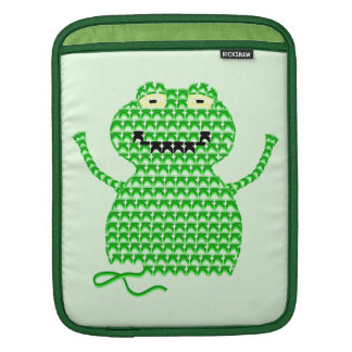 Vector Crochet Frog (Rip it, Frog it! -Green Back) iPad Sleeves