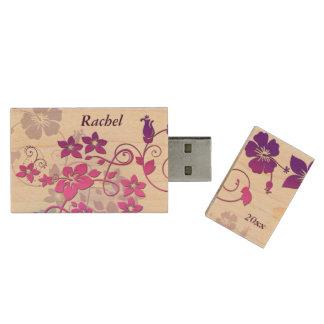 Vector Floral Art Design Monogram USB Flash Drive Wood USB 2.0 Flash Drive