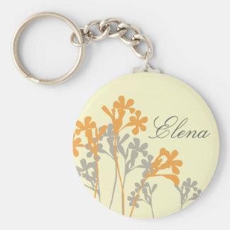 Vector Floral Design Light Custom Name Keychain