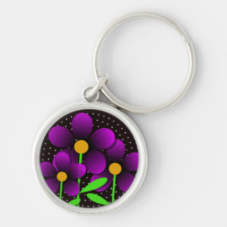 Vector Flowers in Purple Silver-Colored Round Key Ring