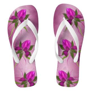 Vector Flowers on Fuchsia Marble Flip Flops Thongs