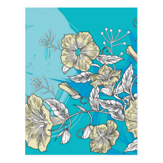vector flowers with blue postcard