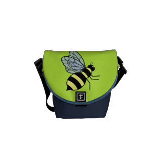 Vector Flying Bee (Green Background) Messenger Bags