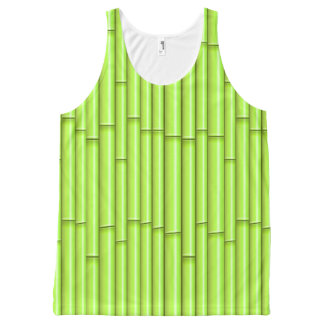 Vector Green Bamboo Background All-Over Print Singlet