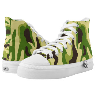 Vector Green Camouflage Pattern Printed Shoes