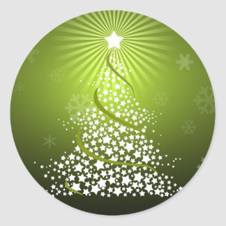 Vector Green Christmas Tree Round Sticker
