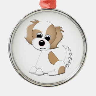 Vector illustration of a puppy Silver-Colored round decoration