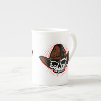 Vector illustration of Cowboy skull Tea Cup