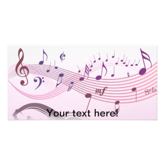 Vector illustration of Winding musical notes Customised Photo Card