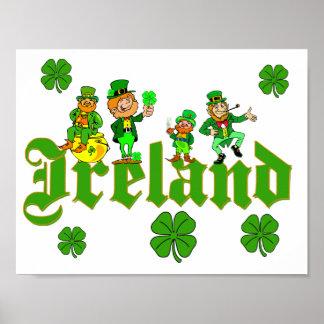 Vector - Leprechaun Clover  Ireland Poster